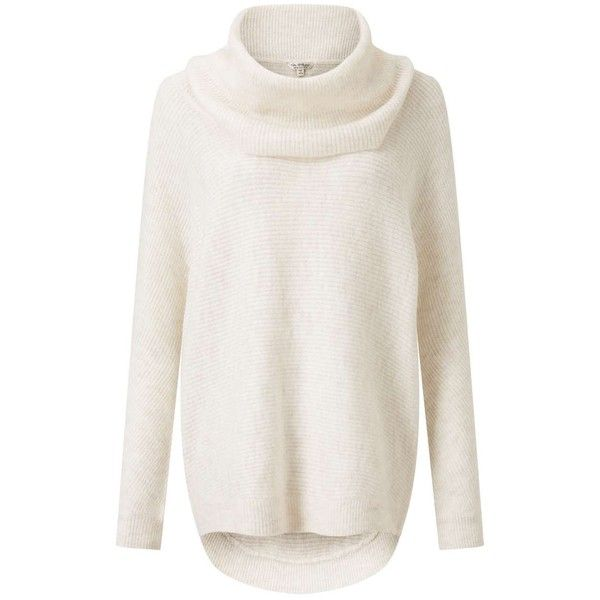 Miss Selfridge Cream Slouchy Cowl Neck Knitted Jumper ($61) ❤ liked on Polyvore featuring tops, sweaters, white, white cowl neck sweater, cream jumper, white sweater, slouchy tops and cowlneck sweater