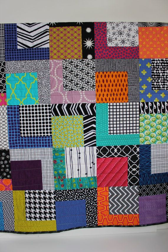 """Modern Baby Quilt """"Robbie"""" Contemporary Geometric Pattern in Bright Colors; Baby, Toddler, Child or Lap Quilt, Play Mat, Wall Hanging by iheartbabyquilts, $89.00"""