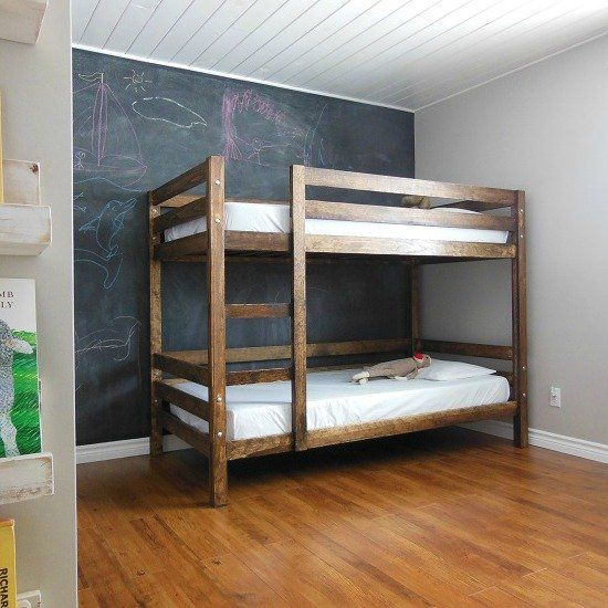 come see how we built a simple diy bunk bed for our kids bedroom