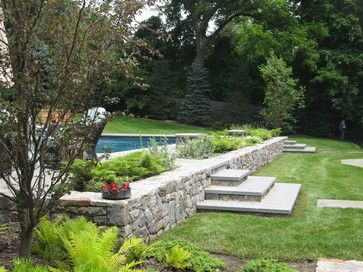 Sloped Yard Design Ideas, Pictures, Remodel and Decor - we dont have a pool, but I like the idea of building in garden beds into the wall