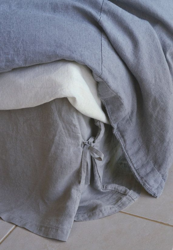 Grey Linen King Bed Skirt : Light grey linen box pleated bedskirt with ties dust