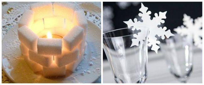 создать настроение. Например, бумажной снежинки накраю бокала или ледяной крепости, сложенной изкусочков сахара.