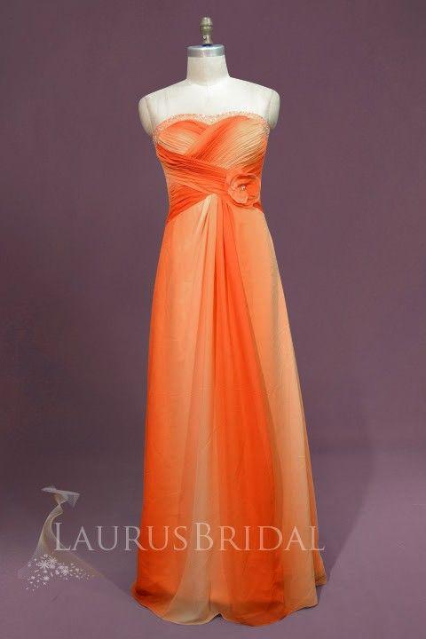 orange wedding dresses   Orange Strapless Bateau Beaded Ruched Floral Column Bridal Dress ...