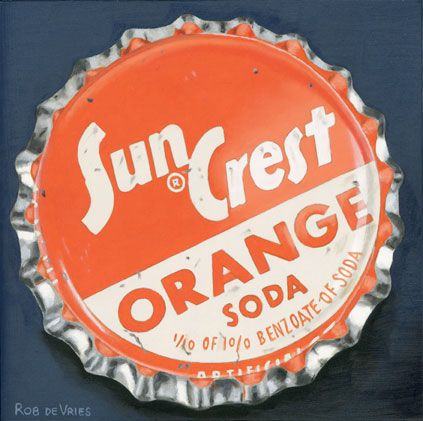 """Another vintage bottle cap painting is finished. """"Sun Crest"""" Oil on panel, 6 x 6 inch (15 x 15 cm)."""