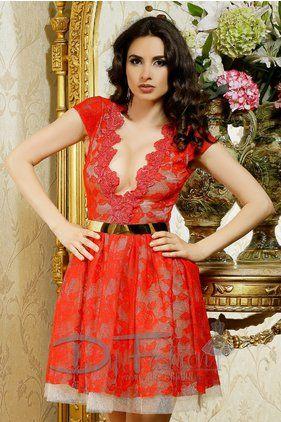 Rochie Lacy Red Roses -  Colectia Rochii de club de la  www.rochii-ieftine.net