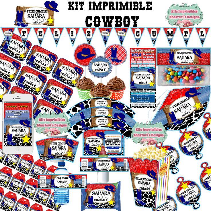 Kit Imprimible Cowboy Vaquero editable + candy bar (mesa de dulces) toppers wrappers invitaciones banderines de AhastariDesigns en Etsy