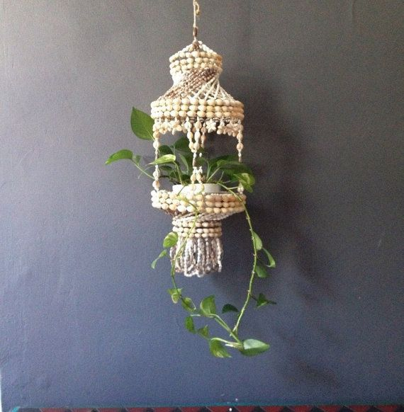 Hanging Light With Planter: Boho Chic Shell Chandelier. Hanging Mid Century Shell