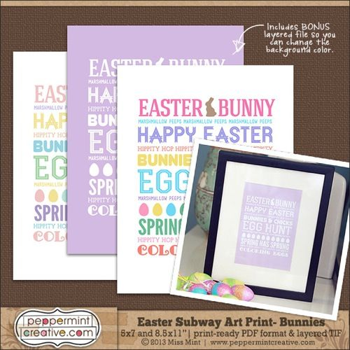 Easter Subway Art Prints And X Print Ready PDF Also Includes Layered TIF So You Can Change Background Color If Have The Photo Editing Program That