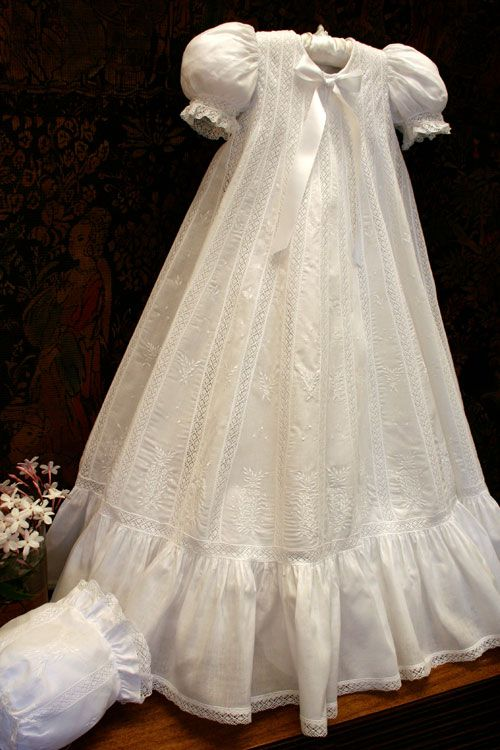 Cotton batise christening gown.                                                                                                                                                                                 More