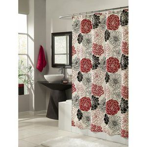 M. Style Full Bloom shower Curtain - black red gray and white (cream)