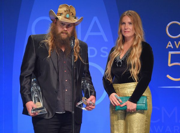 Morgane Stapleton Photos Photos - Chris Stapleton and his wife Morgane Stapleton pose with the Music Video of the Year and Male Vocalist of the Year awards at the 50th annual CMA Awards at the Bridgestone Arena on November 2, 2016 in Nashville, Tennessee. - The 50th Annual CMA Awards - Press Room
