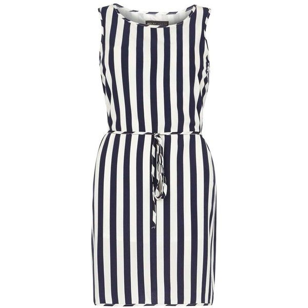 **Mela Navy and White Stripe Dress ($44) ❤ liked on Polyvore featuring dresses, navy, navy striped dress, stripe dress, mela loves london, striped dress and navy white striped dress