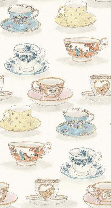 Tea Time  (LW1458/1) - Linwood Wallpapers - An all over wallpaper design featuring delightfully different styles of teacups and saucers. Shown here in  soft pale sugar colours. Please request a sample for a true colour match. Pattern repeat is 97cm. Paste-the-wall product.