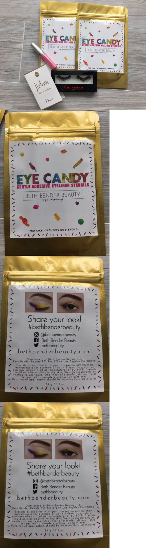 Other Eye Makeup: Beth Bender Beauty Eyeliner Stencils Eye Candy Gorgeous Eyelashes Sephora Lip -> BUY IT NOW ONLY: $40 on eBay!