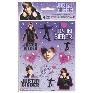 Justin Bieber Stickers. 4 sheets per package.