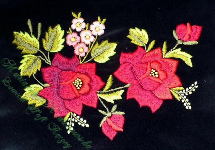 lowickie roze | bordowe-lowickie-roze-rozowe-niezapominajki-wzor-kwiatowy-wyhaftowany ...