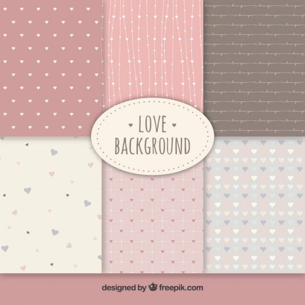 Cute love backgrounds collection Free Vector