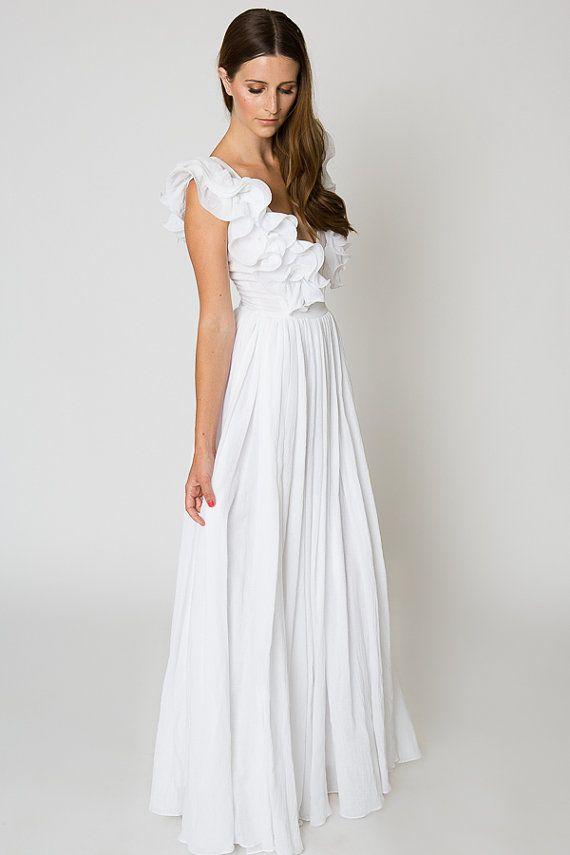 White Ruffle BOHEMIAN WEDDING Gauze Maxi DRESS Beach Wedding Dress Deep V Plunge Maxi Dress