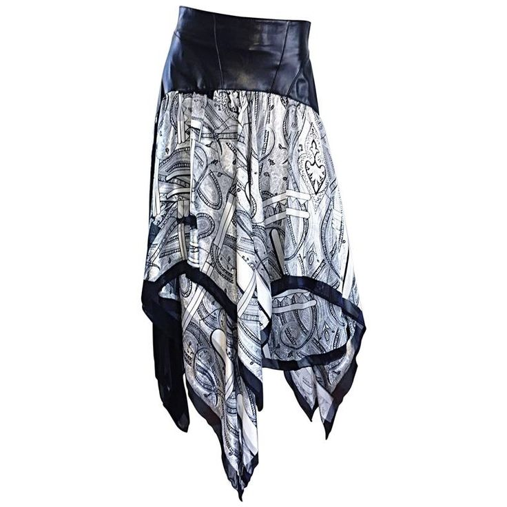 Vintage Jean Claude Jitrois Black and White Leather + Silk Handkerchief Skirt 1