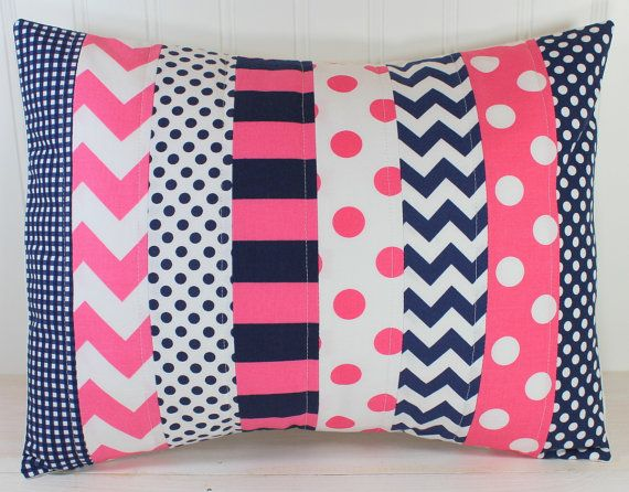 Navy And Pink Decorative Pillows: Pillow Cover, Baby Girl Nursery Decor, Bedroom Throw