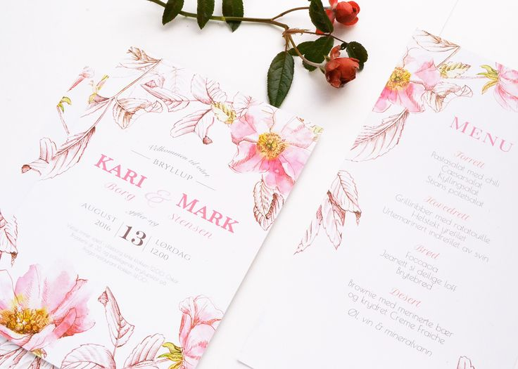 """Wedding invitation suite """"Briar"""" in 3 colour options. Design is based on watercolor painting and ink hand-drawing."""