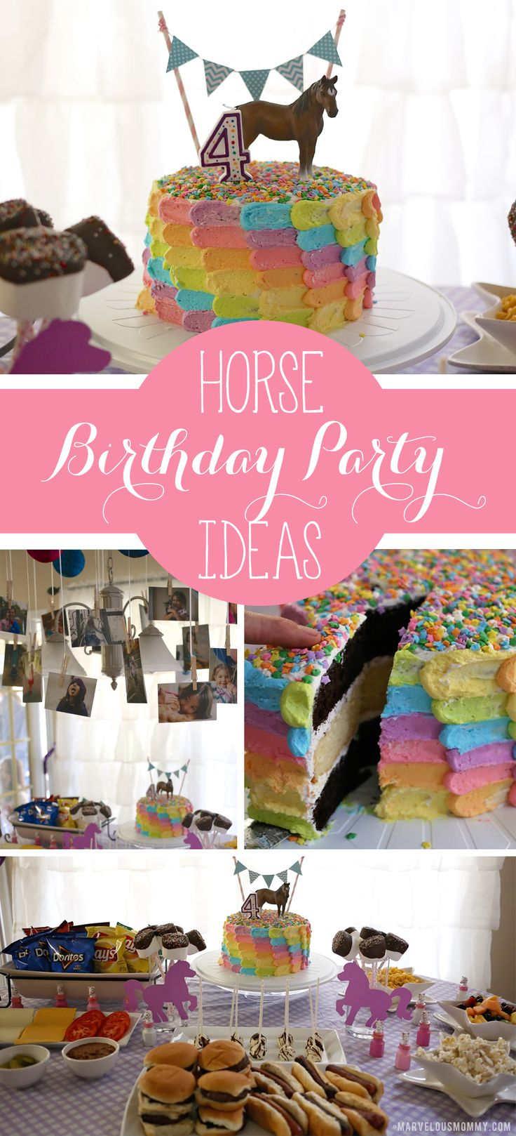 Horse Birthday Party Ideas | Pony Party | Decorations | Rainbow Petal Cake | Little Girls Birthday Party | Burger Bar | Chex Mix | Fruit Salad
