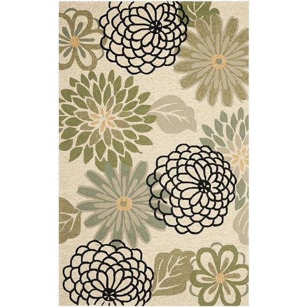 Bonaire Area Rug I ($149) ❤ liked on Polyvore featuring home, rugs, indoor outdoor area rugs, tropical rugs, flower rug, flower stem and tropical area rugs