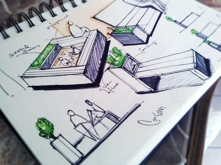 street bench sketch, sketchbook, pencil sketch // side note: interesting depiction of people hahaha suuuper minimal