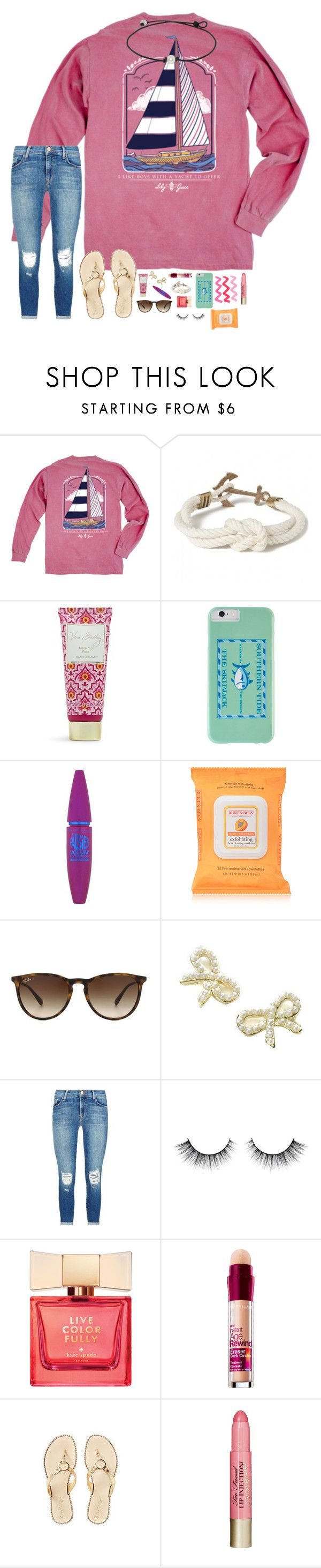 """#hawaiispringbreak2k16 ends tomorrow!!"" by hopemarlee ❤ liked on Polyvore featuring Kiel James Patrick, Vera Bradley, Southern Tide, Maybelline, Burt's Bees, Ray-Ban, Monsoon, J Brand, Kate Spade and Lilly Pulitzer"