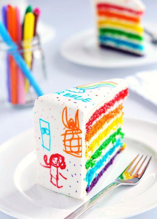 Rainbow Doodle Cake via Sweetapolita