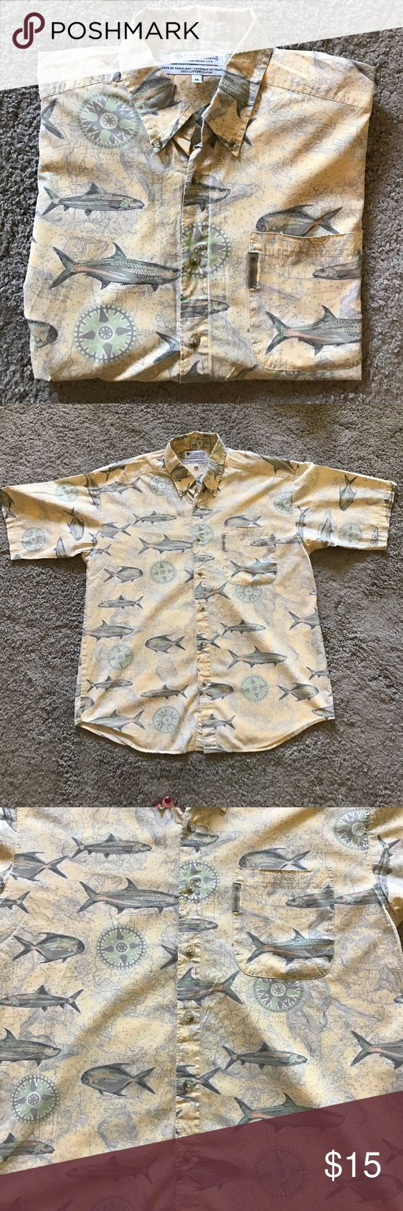 Vintage Men's Columbia Fishing Shirt Awesome pattern. Like new condition. 100% cotton! Columbia Shirts Casual Button Down Shirts