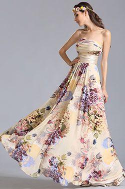 Trägerlos Flach Ausschnitt Gedruckte Sommer Blumen Kleid (07151468) #Abziehbild Abendkleider #eDressit