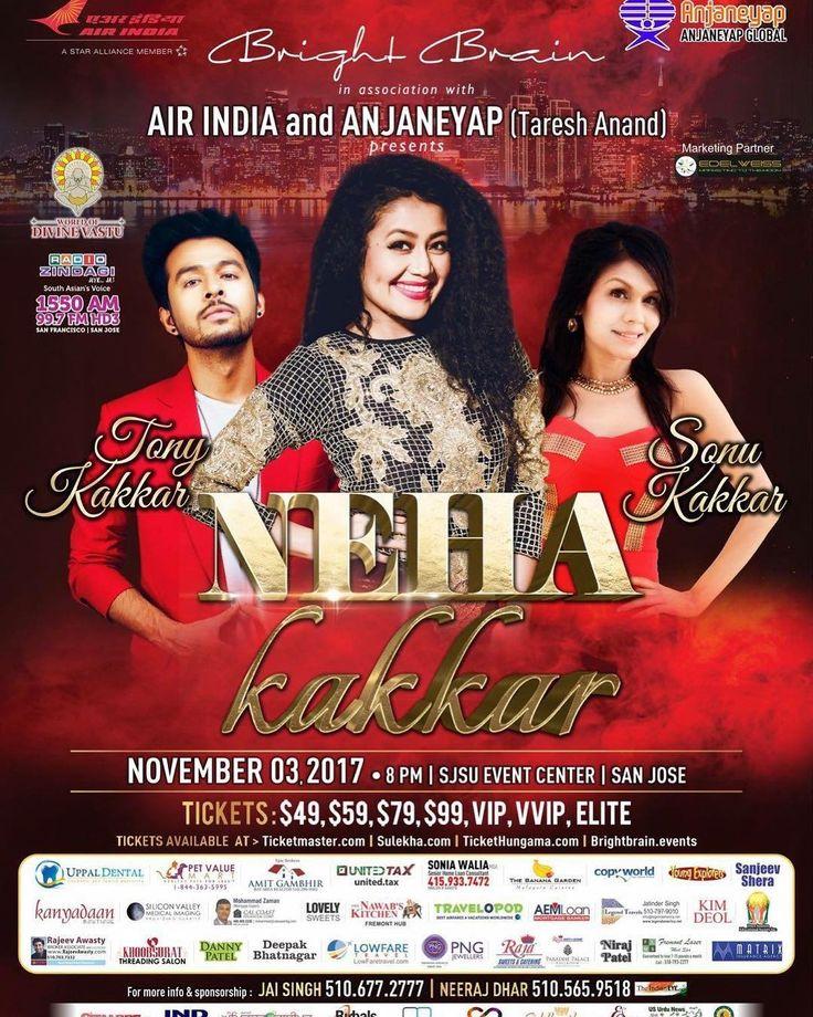 San Jose !! Are you ready ? We Kakkars, @nehakakkar @tonykakkar and Me Coming to perform live ! See you on the 3rd of November