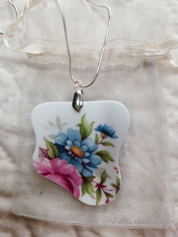 Pendant Broken China Bone China Sterling by TeaTimesCreations
