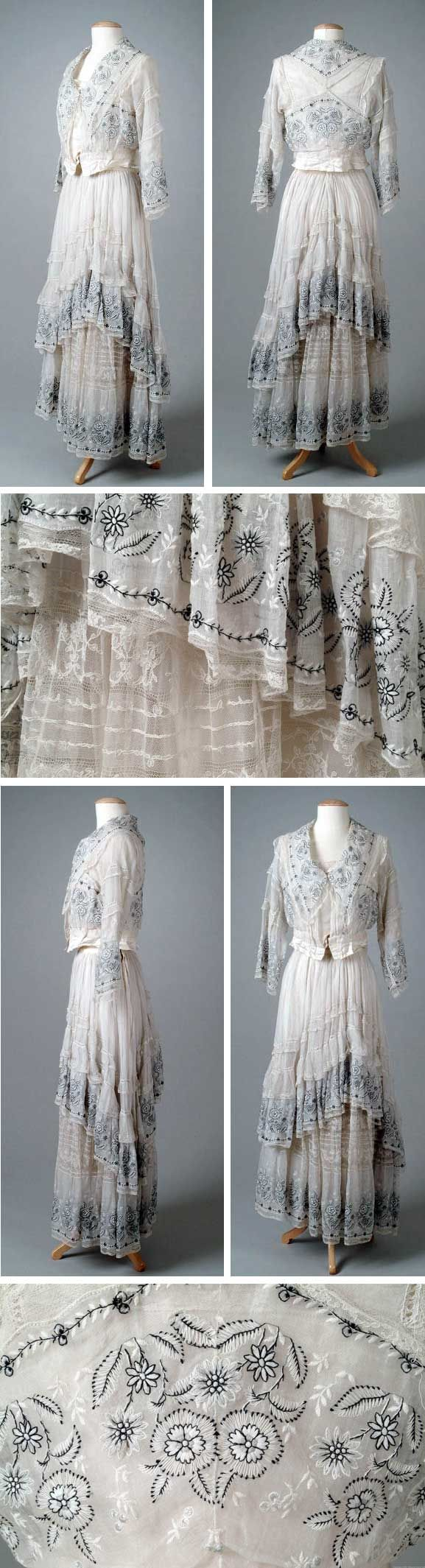 Two-piece summer dress, Lucile, 1915. White cotton organdy embroidered in black and white flowers. Skirt is trimmed in lace and bodice has a shawl collar. Via Meadow Brook Hall Historic Costume Collection, Oakland Univ.