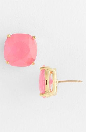 kate spade new york stud earrings in bubblegum pink!