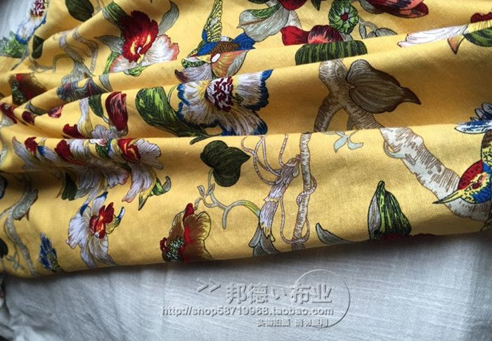 Fine linen cloth flower yellow red vintage American navy blue 3 color pictures of 145cm-in Fabric from Home & Garden on Aliexpress.com | Alibaba Group