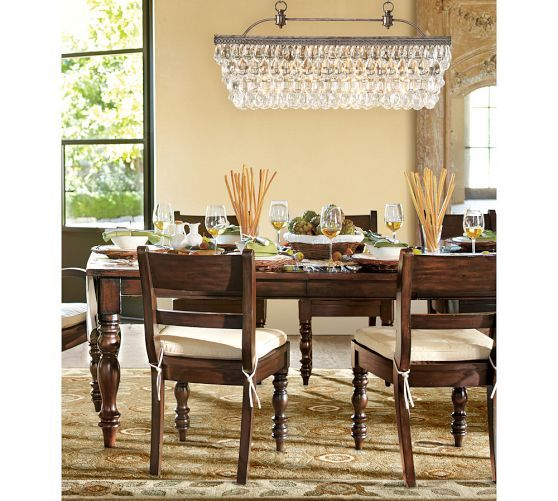 Pottery Barns Clarissa Glass Drop Extra Long Rectangular Chandelier Displayed In The Dining Room