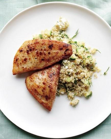 Tilapia & quinoa with feta and cucumber