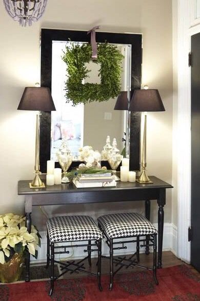 Find this Pin and more on First Impressions by rebelmojorising. square  boxwood wreath over mirror. ...