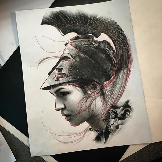#mulpix Ready to the combat!  #athena at @guichotatouages  #france  #larochelle  #tattoo  #design