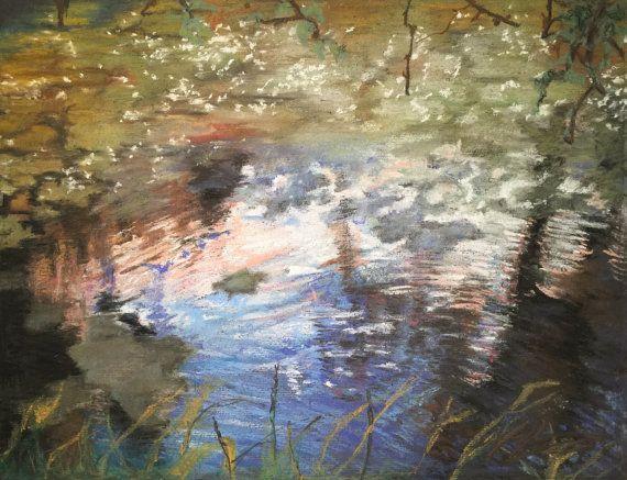 Summer Pond Fine Pastel Art Work by FinePastelKB on Etsy