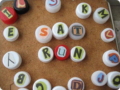 Bottle cap letters