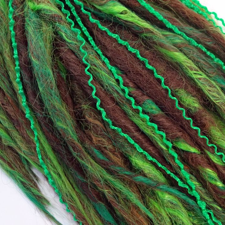 Green Micro Knot ZiZi mixed in with brown and lime green synthetic dreads