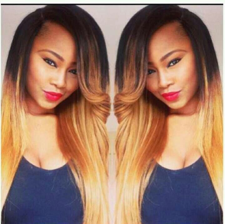 Side Part Ombre Sew in w/ Pin Curl Bang | Hair Work | Pinterest ...