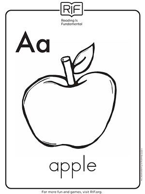 Printable Alphabet Coloring Pages: A Is for Apple... coloring sheet downloads for each letter of the alphabet, but they are slides uggggh... why do they do that?