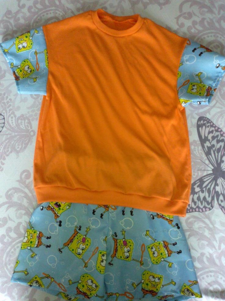 Boy's Summer PJ's - Spongebob print shorts & sleeves (6-8 yrs) - R100.00