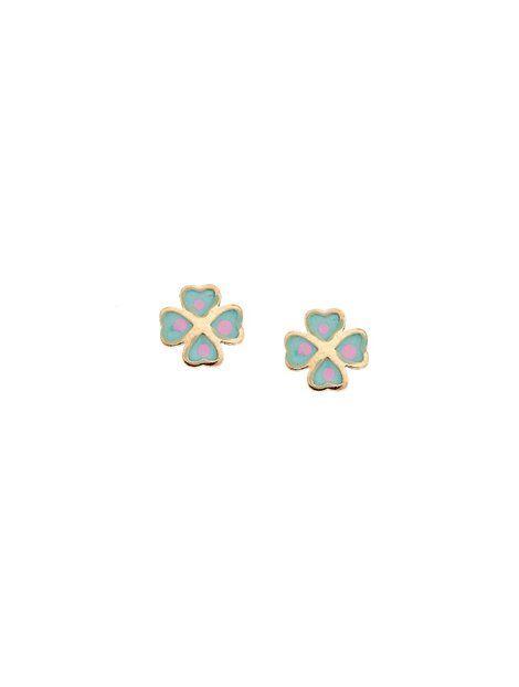 Παιδικά Σκουλαρίκια από Χρυσό 9Κ με Σμάλτο Αναφορά 013664 Παιδικά σκουλαρίκια (τετράφυλλα) από Χρυσό 9Κ σε κίτρινο χρώμα με καρφάκι.Τα στοιχεία είναι στολισμένα με σμάλτο σε χρώμα σιέλ και ροζ