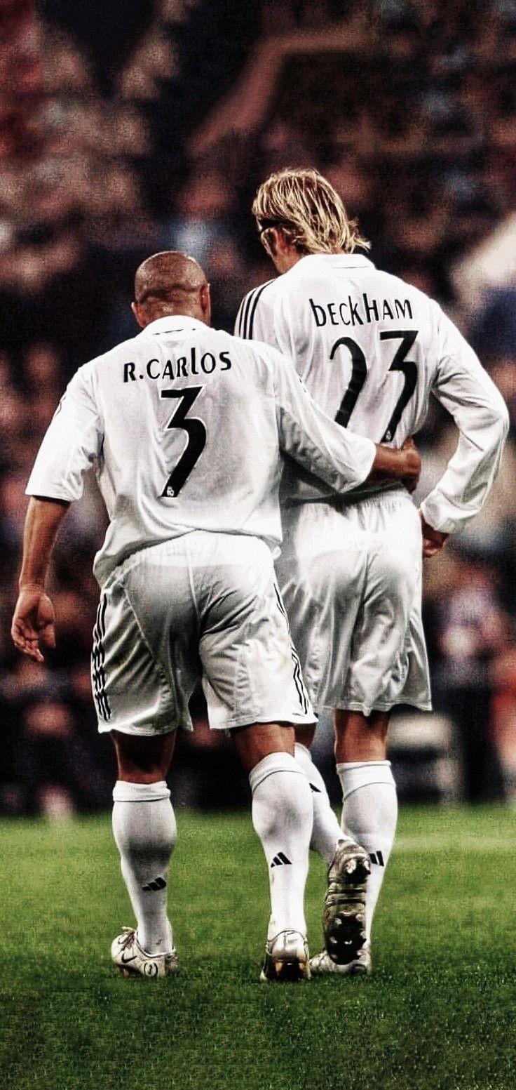 Roberto Carlos David Beckham Real Madrid Imagens De Futebol Cartaz De Futebol Jogadores De Futebol