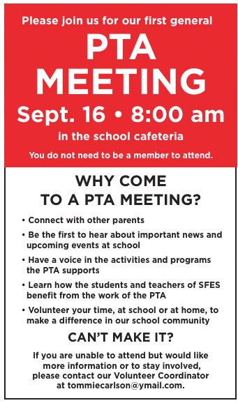 Why come to a PTA meeting sign